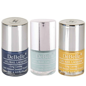 DeBelle Gel Nail Lacquers Combo of 3 Twilight Sapphire, Mint Amour and Yellow Topaz - 8 ml each