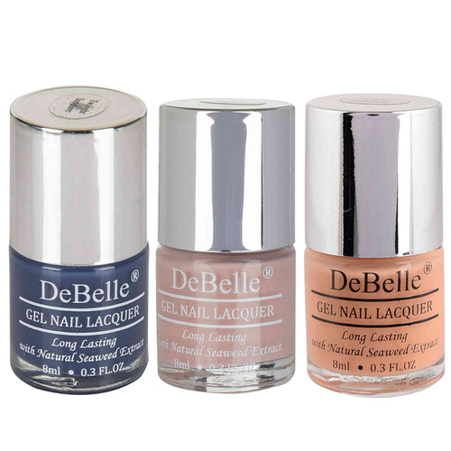 DeBelle Gel Nail Lacquers Combo of 3 Twilight Sapphire , Peony Blossom and Peachy Passion - 8 ml each