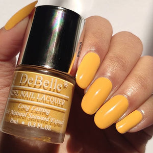 DeBelle nail polish swatch - muted yellow nail polish for summers 2021