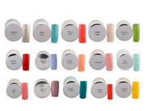Load image into Gallery viewer, top view of Nail polish multicolor combo  of 15 colorful 8ml nail lacquers with colored nail pressings beside them