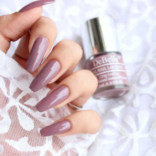best mauve nail polish in india - debelle majestique mauve swatch
