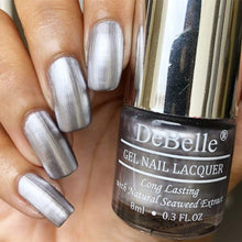 Load image into Gallery viewer, DeBelle Metallic Silver Nail Polish swatch