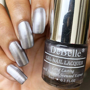 DeBelle Metallic Silver Nail Polish swatch