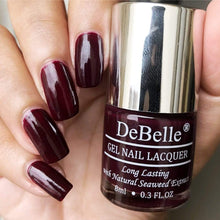 Load image into Gallery viewer, DeBelle Dark Maroon Nail Polish Swatch