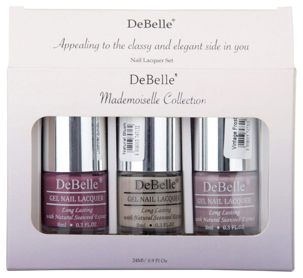 DeBelle Gel Nail Lacquers Mademoiselle Collection Combo Set of 3 Light Magenta, Pastel Purple and Nude - 8ml each