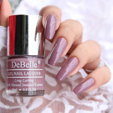 debelle majestique mauve swatch pictures - mauve nail polish shade for indian skin tone