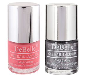 DeBelle combo set of pastel pink and grey glitter nail polish