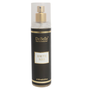 A 135 ml bottle of DeBelle Fine Fragrance Body Mist - Haute Noir - Oriental Body Mist