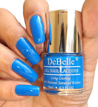 Load image into Gallery viewer, DeBelle Bright Blue Nail Polish Swatch