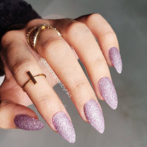 lavender glitter nail polish with holo
