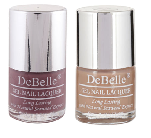 DeBelle Gel Nail Lacquer Majestique Mauve & Coco Bean 8 ml pack of 2