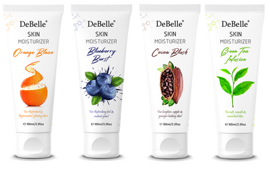 DeBelle Skin Moisturizer Combo Kit of 4 (Orange Blaze, Blueberry Burst, Cocoa Blush and Green Tea Infusion)
