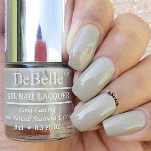 Light grey nail paint with gel finish