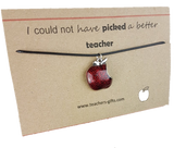 'I could not have picked a better teacher' Enamel Bitten Apple Necklace
