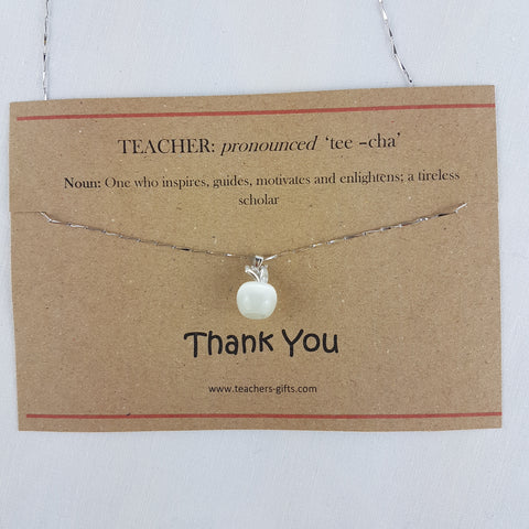 Dictionary Description of a Teacher White Apple on Silver Chain