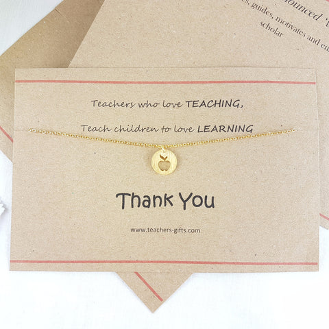 Teachers who Love Teaching - Apple Charm Necklace
