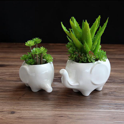 2 piece Mum and Baby Elephant Plant Pot Set