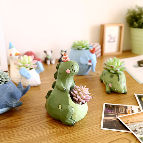 Geometric Resin Animal Desktop Plant Pots