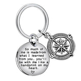 """So much of me is made from what I learned from you"" Charm Compass Key Ring"