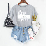 EAT.SLEEP.TEACH.REPEAT Soft Grey Marl T-Shirt