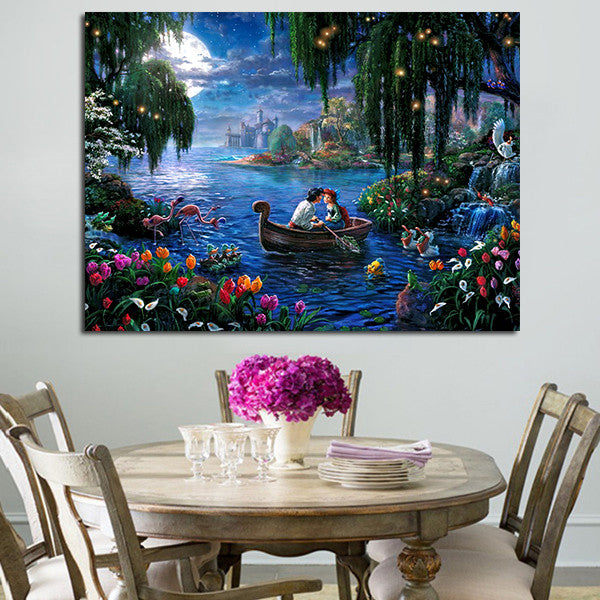 The Little Mermaid Ariel And Prince Wall Art Canvas