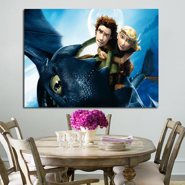 1 Panel Hiccup Astrid And Toothless Wall Art Canvas