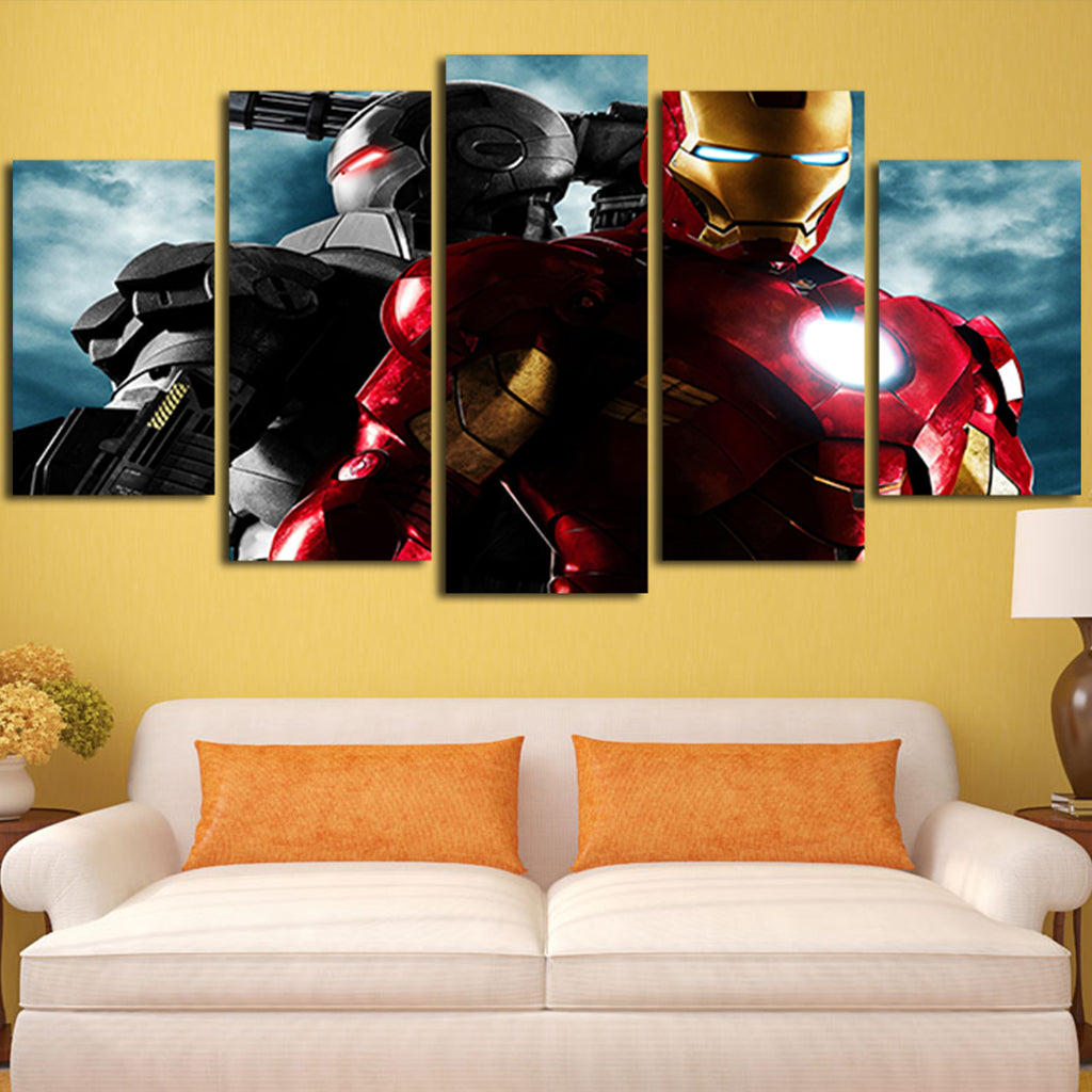 5 Panel Iron Man Mark 3 III v Mark 2 II Wall Art Canvas – Super Hacks