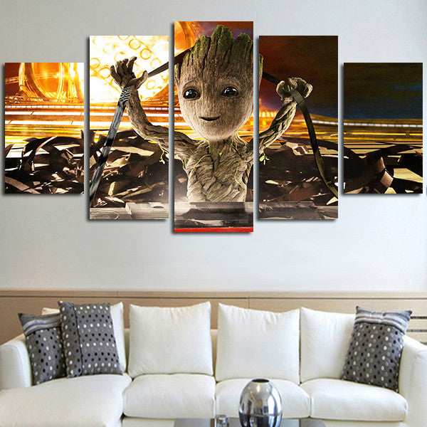 5 Panel Guardians Of The Galaxy 2 Baby Groot Wall Art Canvas