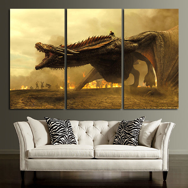 3 Panel Giant Dragon Wall Art Canvas