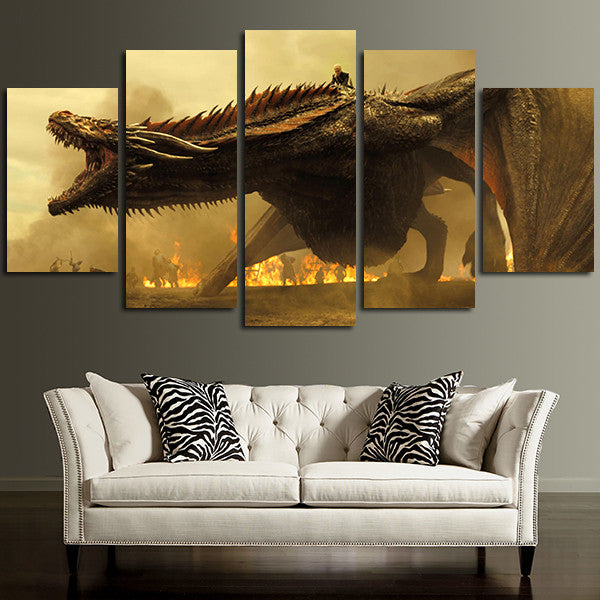 5 Panel Giant Dragon Wall Art Canvas