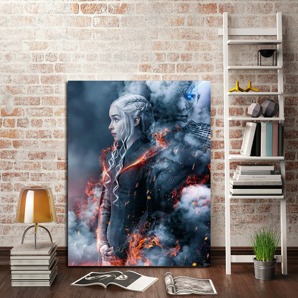 1 Panel Daenerys Targaryen And Night King Wall Art Canvas