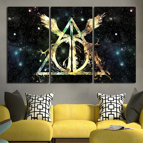3 Panel Harry Potter Deathly Hallows Logo Wall Art Canvas