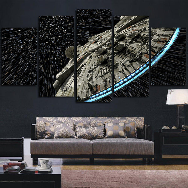 5 Panel Star Wars Millennium Falcon Wall Art Canvas