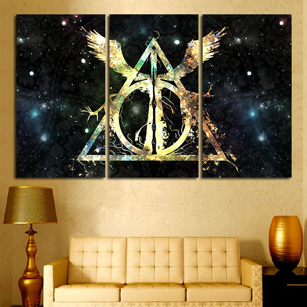 3 Panel Harry Potter Deathly Hallows Logo Wall Art Canvas – Super Hacks