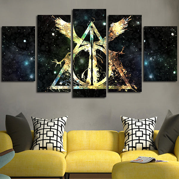 5 Panel Harry Potter Deathly Hallows Logo Wall Art Canvas