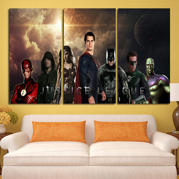 3 Panel Justice League Characters And Sky Wall Art Canvas – Super Hacks