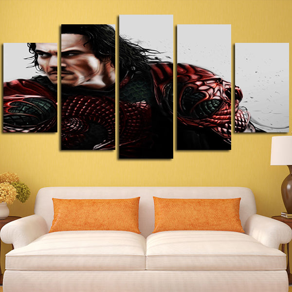 5 Panel Dracula Is Painted Wall Art Canvas – Super Hacks