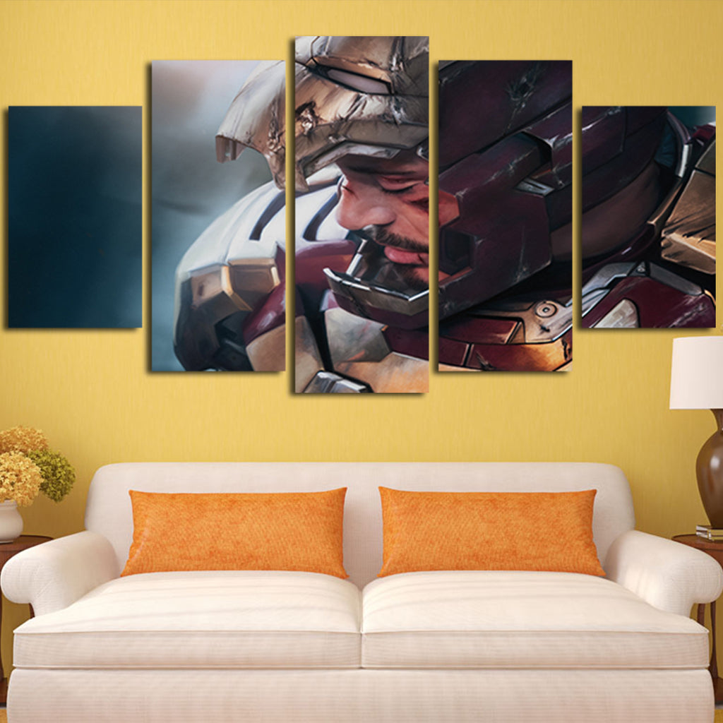 5 Panel Iron Man Robert Downey Jr Face Wall Art Canvas – Super Hacks