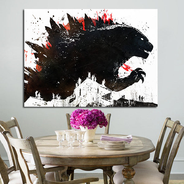 1 Panel Godzilla Painted Black Ink Wall Art Canvas