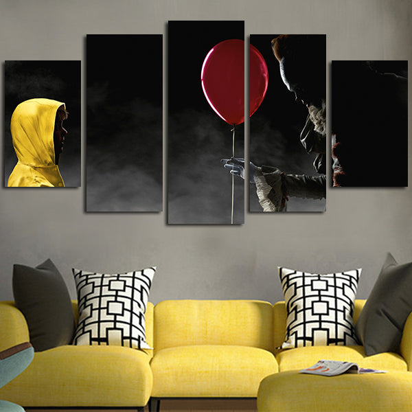 5 Panel Pennywise And Georgie Denbrough Wall Art Canvas