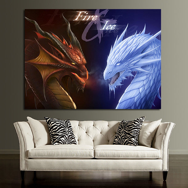 1 Panel Fire And Ice Dragon Wall Art Canvas