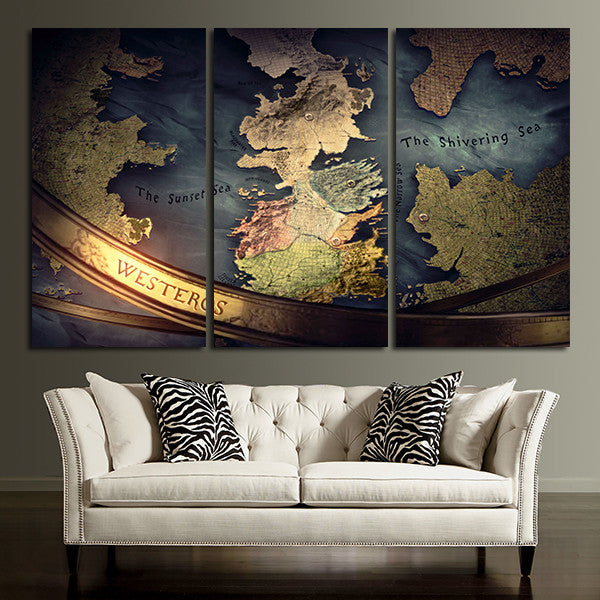 3 Panel The Seven Kingdoms From Game of Throne Wall Art Canvas