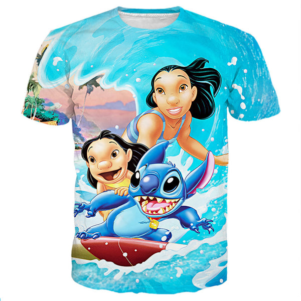 Lilo Stitch And Nani Surfing Shirts
