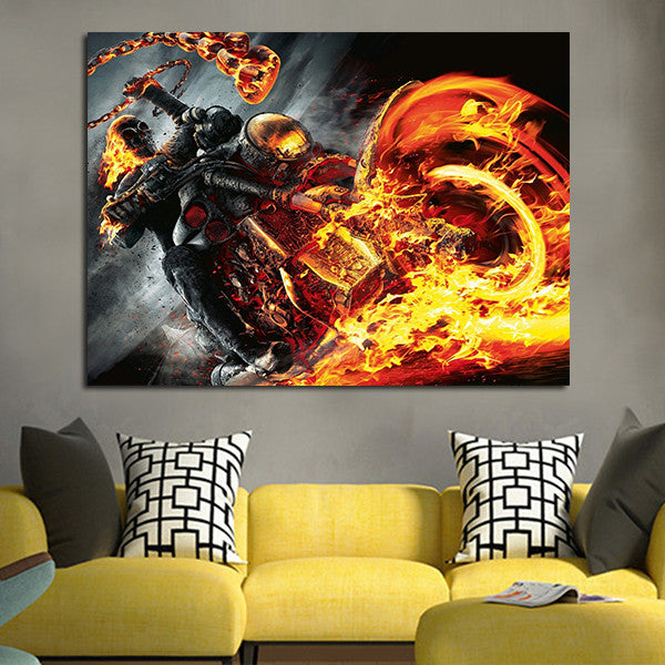 1 Panel Ghost Rider Fire Red Wall Art Canvas