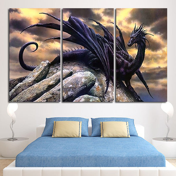 ... 3 Panel Dark Dragon Wall Art Canvas