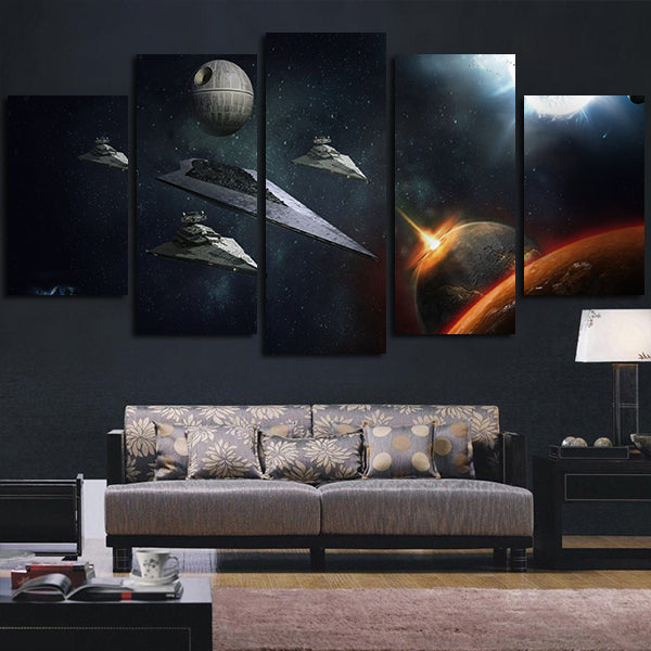 5 Panel Star Wars Star Destroyer And Satellite Wall Art Canvas