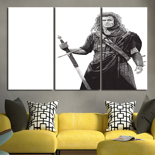 3 Panel Braveheart William Wallace Standing Black And White Artwork Wall Art Canvas