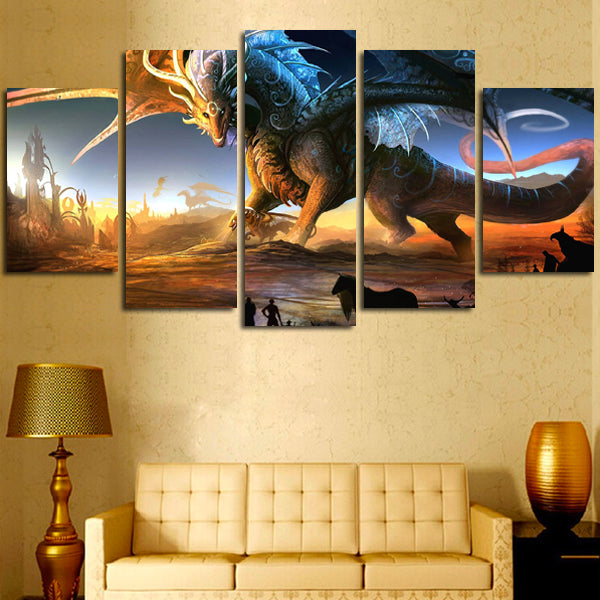5 Panel Dragon Fantasy Wall Art Canvas – Super Hacks