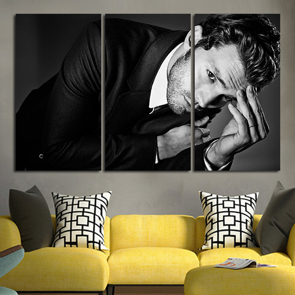 3 Panel Christian Grey Black And White Wall Art Canvas