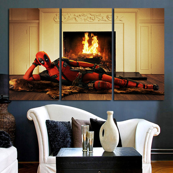 3 Panel Deadpool Lying In Front Of A Fireplace Wall Art Canvas ...